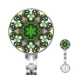 Green Flower In Kaleidoscope Stainless Steel Nurses Watch