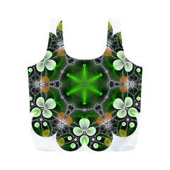 Green Flower In Kaleidoscope Full Print Recycle Bags (m)