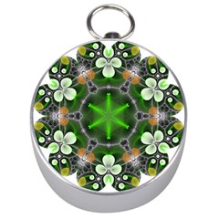 Green Flower In Kaleidoscope Silver Compasses