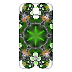 Green Flower In Kaleidoscope Samsung Galaxy S5 Back Case (White)