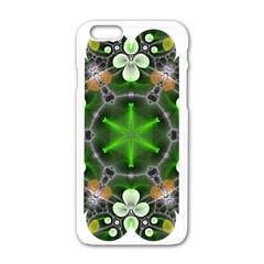 Green Flower In Kaleidoscope Apple iPhone 6/6S White Enamel Case