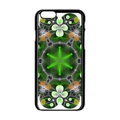 Green Flower In Kaleidoscope Apple iPhone 6/6S Black Enamel Case