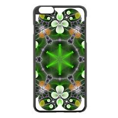 Green Flower In Kaleidoscope Apple iPhone 6 Plus/6S Plus Black Enamel Case