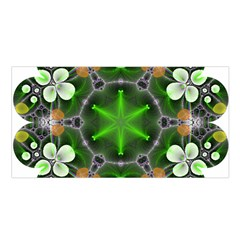 Green Flower In Kaleidoscope Satin Shawl