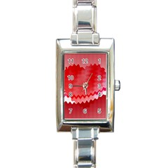 Red Fractal Wavy Heart Rectangle Italian Charm Watch