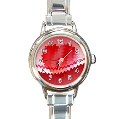 Red Fractal Wavy Heart Round Italian Charm Watch