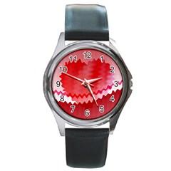 Red Fractal Wavy Heart Round Metal Watch
