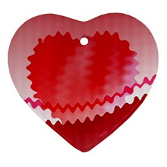 Red Fractal Wavy Heart Ornament (Heart)
