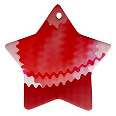 Red Fractal Wavy Heart Ornament (star)