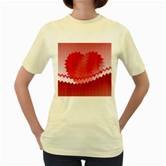 Red Fractal Wavy Heart Women s Yellow T Shirt