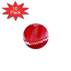 Red Fractal Wavy Heart 1  Mini Magnet (10 Pack)