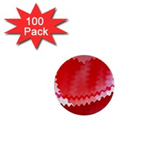 Red Fractal Wavy Heart 1  Mini Buttons (100 Pack)