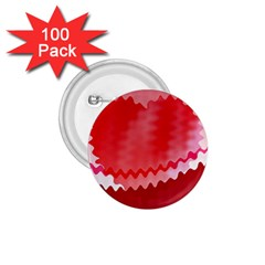 Red Fractal Wavy Heart 1.75  Buttons (100 pack)