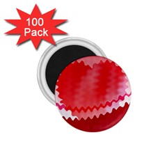 Red Fractal Wavy Heart 1 75  Magnets (100 Pack)