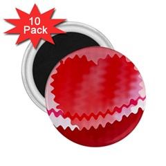 Red Fractal Wavy Heart 2 25  Magnets (10 Pack)