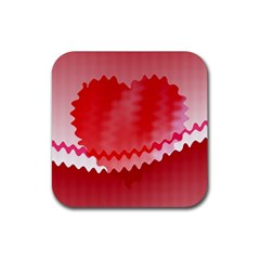 Red Fractal Wavy Heart Rubber Coaster (square)