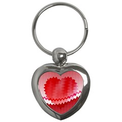 Red Fractal Wavy Heart Key Chains (heart)