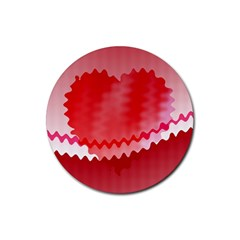 Red Fractal Wavy Heart Rubber Round Coaster (4 Pack)