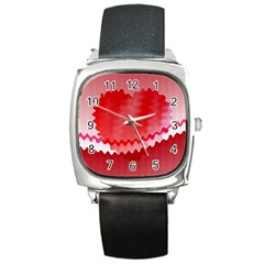 Red Fractal Wavy Heart Square Metal Watch