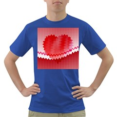 Red Fractal Wavy Heart Dark T Shirt