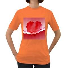 Red Fractal Wavy Heart Women s Dark T Shirt