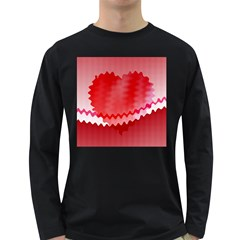 Red Fractal Wavy Heart Long Sleeve Dark T Shirts