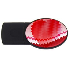 Red Fractal Wavy Heart Usb Flash Drive Oval (4 Gb)