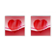 Red Fractal Wavy Heart Cufflinks (Square)