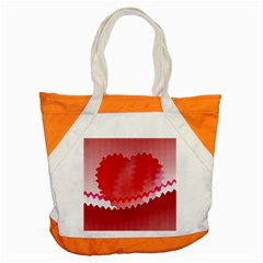 Red Fractal Wavy Heart Accent Tote Bag