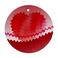 Red Fractal Wavy Heart Round Ornament (two Sides)