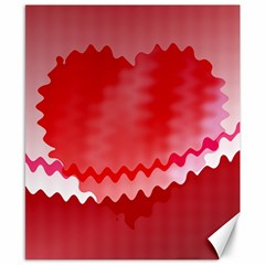 Red Fractal Wavy Heart Canvas 8  X 10