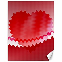 Red Fractal Wavy Heart Canvas 12  X 16