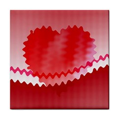 Red Fractal Wavy Heart Face Towel