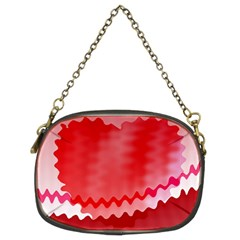 Red Fractal Wavy Heart Chain Purses (two Sides)