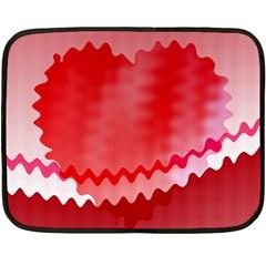 Red Fractal Wavy Heart Double Sided Fleece Blanket (mini)