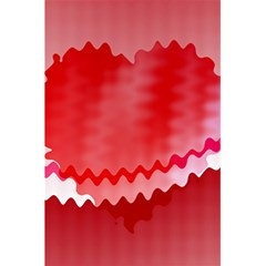 Red Fractal Wavy Heart 5 5  X 8 5  Notebooks