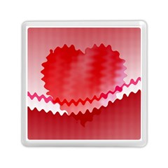 Red Fractal Wavy Heart Memory Card Reader (square)