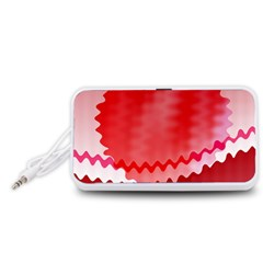 Red Fractal Wavy Heart Portable Speaker (White)