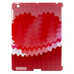 Red Fractal Wavy Heart Apple Ipad 3/4 Hardshell Case (compatible With Smart Cover)