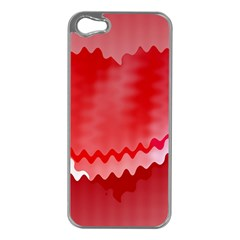 Red Fractal Wavy Heart Apple iPhone 5 Case (Silver)