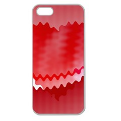 Red Fractal Wavy Heart Apple Seamless iPhone 5 Case (Clear)