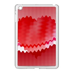 Red Fractal Wavy Heart Apple iPad Mini Case (White)