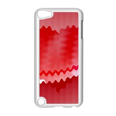 Red Fractal Wavy Heart Apple Ipod Touch 5 Case (white)
