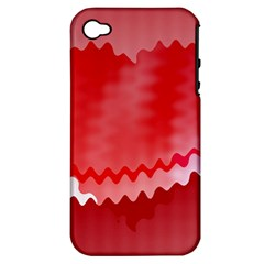 Red Fractal Wavy Heart Apple iPhone 4/4S Hardshell Case (PC+Silicone)