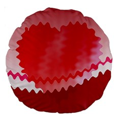 Red Fractal Wavy Heart Large 18  Premium Round Cushions