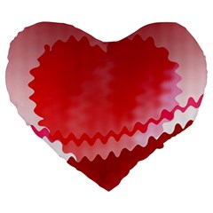 Red Fractal Wavy Heart Large 19  Premium Heart Shape Cushions