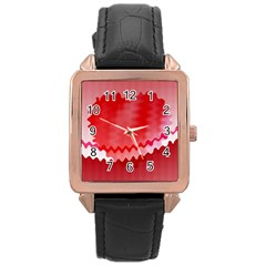 Red Fractal Wavy Heart Rose Gold Leather Watch