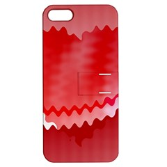 Red Fractal Wavy Heart Apple iPhone 5 Hardshell Case with Stand