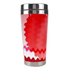 Red Fractal Wavy Heart Stainless Steel Travel Tumblers