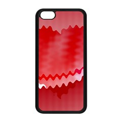 Red Fractal Wavy Heart Apple iPhone 5C Seamless Case (Black)